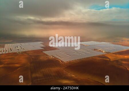 Aerial image drone point of view photo Gemasolar Concentrated solar power plant CSP, system generate solar power. Sevilla, Spain