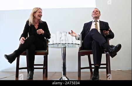 Dominic Raab attended an exclusive briefing with members of FPA  and made some opening remarks on record as well as answering questions off the record . After the meeting with the foreign press association in the UK  ,  he went to meet US Secretary of State Mike Pompeo ... - Stock Photo