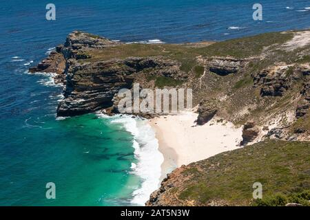 Diaz Beach taken from the old Cape Point Lighthouse, Cape Peninsula, Cape Point National Park, Western Cape, South Africe - Stock Photo