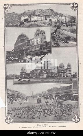 Vintage black and white photos of Views in Jaipur - Stock Photo