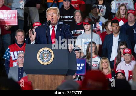 President Donald J. Trump speaks to a large crowd at the 'Keep America Great' rally held at the Wildwoods Convention Center. - Stock Photo