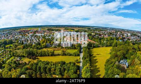 View of Augsburg-Haunstetten from the east - Stock Photo