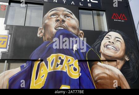 Los Angeles, California, USA 30th January 2020 A general view of atmosphere of Kobe Bryant Mural and memorial in Los Angeles, California, USA. Photo by Barry King/Alamy Live News - Stock Photo