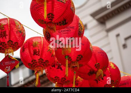 London, January 26, 2020. Chinese Paper Lanterns. London Chinatown. Chinese New Year Celebrations.
