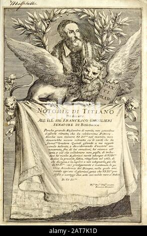 woodcut print at the opening of the Human Anatomy book 'Notomie di Titiano' Printed in Italy in 1670 - Stock Photo