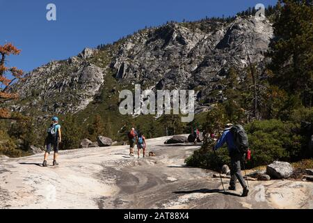Pyramid Peak Trail Glacial valley Eldorado National Forest California - Stock Photo