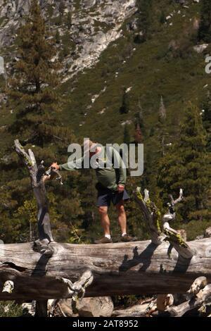 Pyramid Peak Trail Glacial valley Eldorado National Forest California - Stock Photo