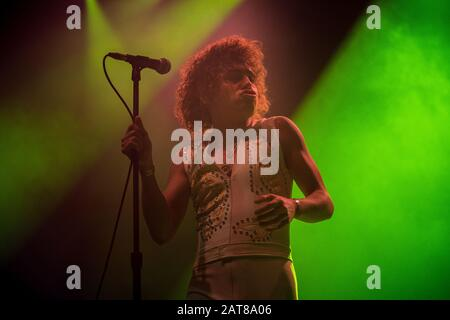 Copenhagen, Denmark. 18th, November 2019. The American rock band Greta Van Fleet performs a live concert at KB Hallen in Frederiksberg. Here singer Josh Kiszka is seen live on stage. (Photo credit: Gonzales Photo - Rod Clemen). - Stock Photo