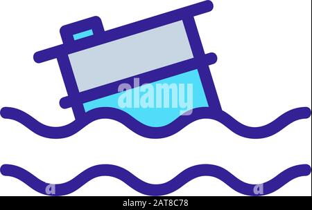 garbage in the ocean icon vector. Isolated contour symbol illustration - Stock Photo