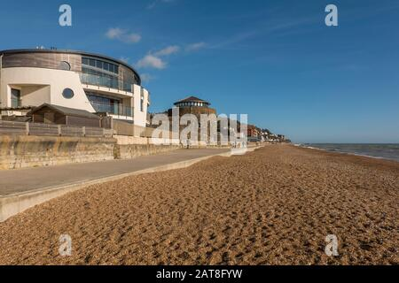 Designer,Home,and,Sandgate Castle,Promanade,Sandgate,Seafront,Sandgate,Folkestone,Kent,England,Cycle and Walking Route,Hythe to Folkestone Section,Sax - Stock Photo