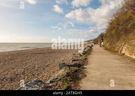 ,Sandgate Castle,Promanade,Sandgate,Seafront,Sandgate,Folkestone,Kent,England,Cycle and Walking Route,Hythe to Folkestone Section,Saxon Shore Way - Stock Photo