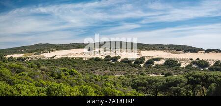 Dune di Piscinas, near Spiaggia Piscinas beach, Arburese mountain range in distance, Costa Verde, Sud Sardegna province, Sardinia, Italy - Stock Photo