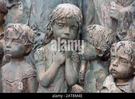 +++FILE PHOTO+++  Newly casted bronze sculpture of a girl was set into Lidice memorial of children victims of the war on January 16, 2011 in Lidice, C - Stock Photo