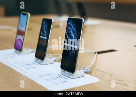 Turkey, Istanbul, December 17, 2019 New Modern iPhone 11 Series at Apple Store