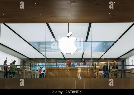 Turkey, Istanbul, December 17, 2019: Apple company logo at the entrance of the Apple Store.