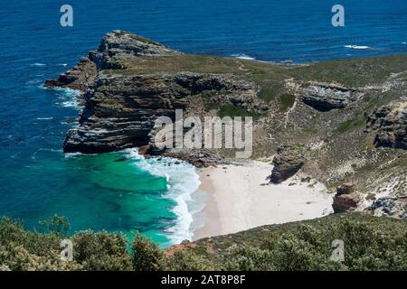 Diaz Beach photographed from the old Cape Point Lighthouse, Cape Peninsula, Cape Point National Park, Western Cape, South Africe - Stock Photo