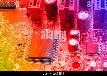Modern electronic elements on a computer board. - Stock Photo