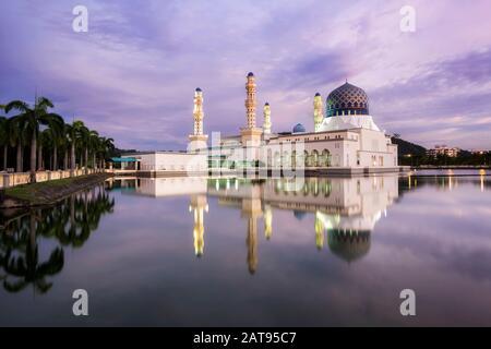 Kota Kinabalu City Mosque at Sunset in Sabah, Borneo, Malaysia. - Stock Photo