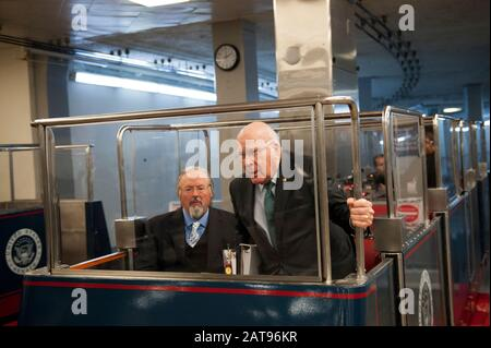 Washington, Dc, United States. 31st Jan, 2020. Senator Patrick Leahy (D-VT) arrives in the Senate subway in the basement of the U.S. Capitol, prior to the Senate impeachment trial of President Donald Trump, in Washington, DC, Friday, January 31, 2020. (Photo by Rod Lamkey Jr./SIPA USA) Credit: Sipa USA/Alamy Live News - Stock Photo