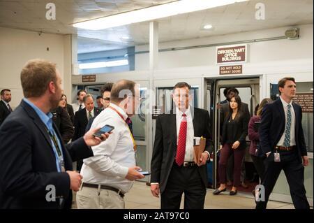 Washington, Dc, United States. 31st Jan, 2020. Senator arrives in the Senate subway in the basement of the U.S. Capitol, prior to the Senate impeachment trial of President Donald Trump, in Washington, DC, Friday, January 31, 2020. (Photo by Rod Lamkey Jr./SIPA USA) Credit: Sipa USA/Alamy Live News - Stock Photo