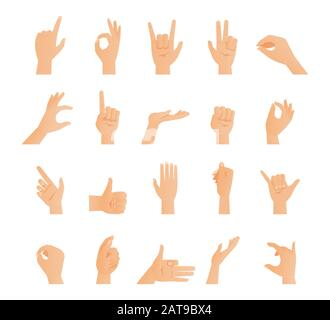 Set of hands in different gestures. Signs collection, arms showing different emotions flat vector illustration isolated on white. Gestures arm - stop, thumbs up, finger pointer, ok, like and others. - Stock Photo