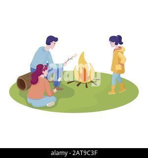 Happy mother, father and daughter spending time together at summer picnic cooking marshmallow outdoor. Family time, man, woman and girl in comfortable clothes, summer day vector flat illustration. - Stock Photo