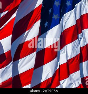American Flag Detail Billowing In The Wind - Stock Photo