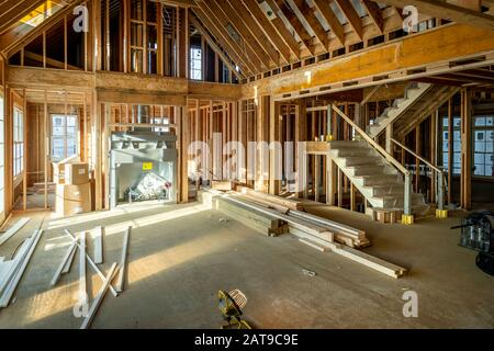 Wooden Framing Interior Of Residential House Construction, USA - Stock Photo