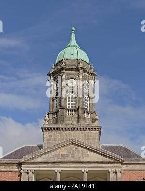 Bedford clock tower in Dublin Castle, Ireland on a sunny day with blue sky - Stock Photo