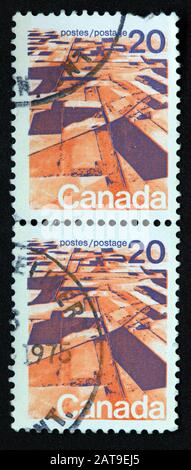 Canadian Stamp, Canada Stamp, Canada Post,used stamp,  Canada 20c , postes, postage,franked - Stock Photo