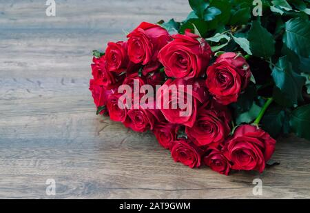 rose red, composition with red roses for the holiday, birthday, Valentine's Day, - Stock Photo