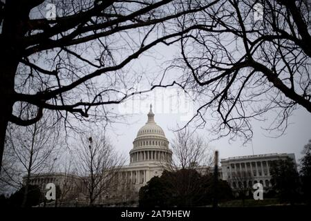 Washington, USA. 31st Jan, 2020. The Capitol is pictured in Washington, DC, the United States, on Jan. 31, 2020. The U.S. Senate reconvened Friday afternoon to hear four hours of debate over whether to call witnesses and documents for the ongoing impeachment trial of President Donald Trump. Credit: Liu Jie/Xinhua/Alamy Live News - Stock Photo