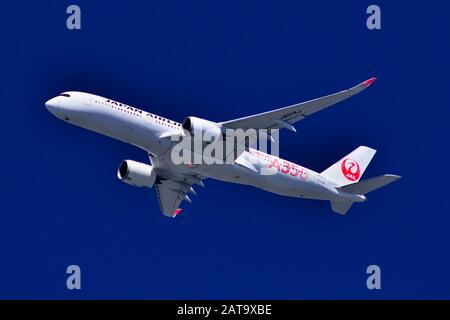 Japan Air Lines, JAL1st A350-900, JA01XJ, Approaching Tokyo Haneda Airport on a Domestic Flight - Stock Photo