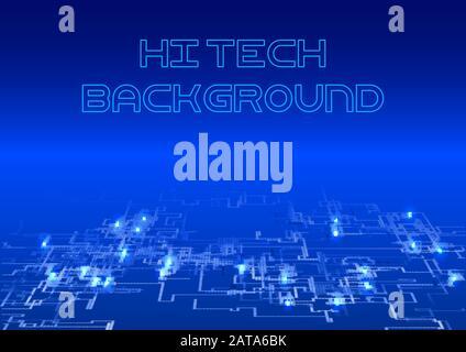 Dark Blue shining Hi Tech Background - Vector Glowing HUD Futuristic Electrical Circuit Design - Stock Photo