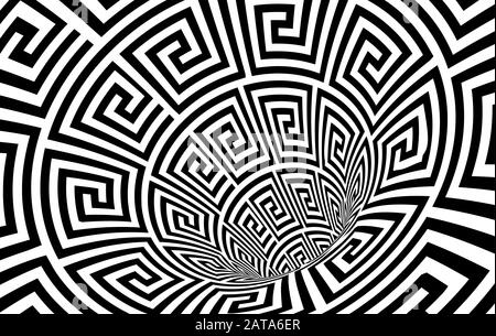 Geometric Black and White Abstract Hypnotic Worm-Hole Tunnel - Optical Illusion - Vector Illusion Meander Patterned Op Art