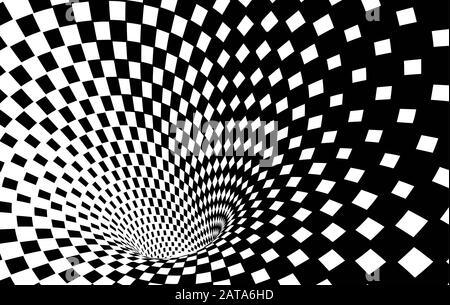 Geometric Black and White Abstract Hypnotic Worm-Hole Tunnel - Optical Illusion - Vector Illusion Checkered Op Art Stock Photo