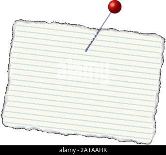 Paper Raggy Badge Blank Mockup - Vector Pinned Tattered Lined Notebook Paper Template - Stock Photo