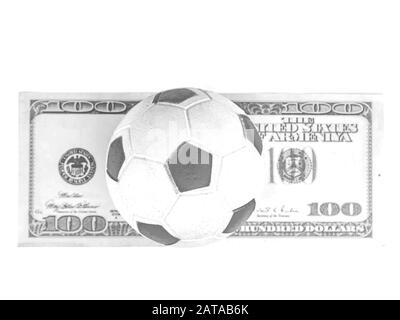 Soccer ball with money on a white background. - Stock Photo
