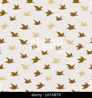 Golden Beige Swallow Birds Print. Seamless Pattern with Modern Inky Birds Silhouettes for fabrics textile print design, wallpapers. Elegant flying crabe birds isolated on light background - Stock Photo