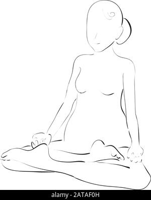 Exercise Lotus Asana for Pregnant Women - Vector Hand Drawn Sketch - Stock Photo