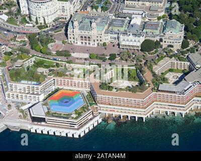 MONTE-CARLO CASINO & THE FAIRMONT HOTEL (aerial view). Principality of Monaco. - Stock Photo