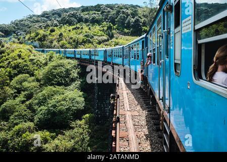 A train passing over the bridge in Sri Lanka - Stock Photo