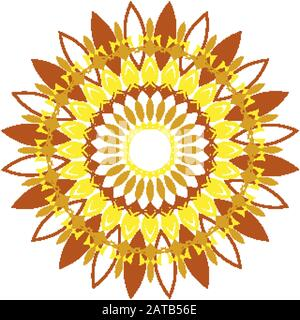 Mandala pattern design in yellow and brown color illustration - Stock Photo