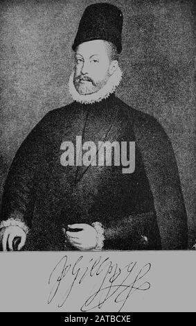 Philipp II., Felipe II, geboren 21. Mai 1527, gestorben 13. September 1598, ein spanischer Monarch aus der Dynastie der Habsburger  /  Philip II of Spain, Felipe II, 21 May 1527 – 13 September 1598, King of Spain (1556–98), King of Portugal (1581–98), King of Naples and Sicily (both from 1554), and jure uxoris King of England and Ireland, Historisch, digital improved reproduction of an original from the 19th century / digitale Reproduktion einer Originalvorlage aus dem 19. Jahrhundert - Stock Photo