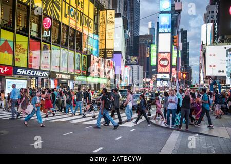 New York City, New York - August 24, 2019: Times Square, NYC - Stock Photo