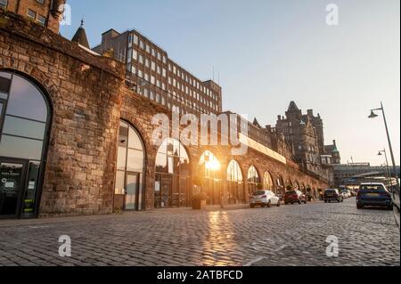 East market street of Edinburgh at sunset. Edinburgh cityscape/travel photograph by Pep Masip. Stock Photo