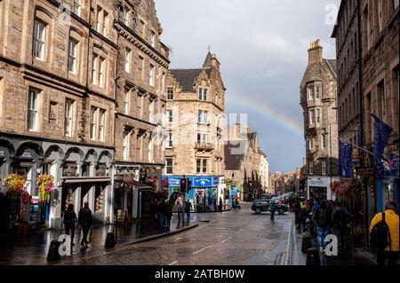 Rainbow over Royal mile. Edinburgh cityscape/travel photograph by Pep Masip. - Stock Photo