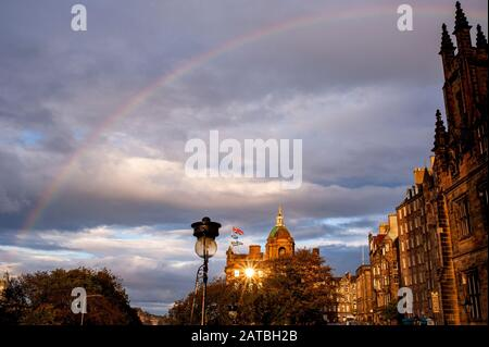 Rainbow over the Museum on the Mound. Edinburgh cityscape/travel photograph by Pep Masip. - Stock Photo