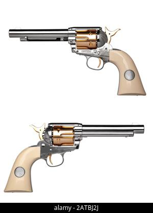 classic silver gold pistol revolver isolated on white background - Stock Photo