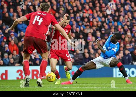 Glasgow, UK. 01st Feb, 2020. Rangers FC played Aberdeen at the Glasgow teams home ground at Ibrox football stadium in a Scottish Premiere League match. The last two games between these teams resulted in a 5 - 0 win for Rangers at Ibrox and a 2 - 2 draw at Pittodrie, Aberdeen's home ground, so in league points this is an important game for both teams. The game finished 0 - 0. Credit: Findlay/Alamy Live News